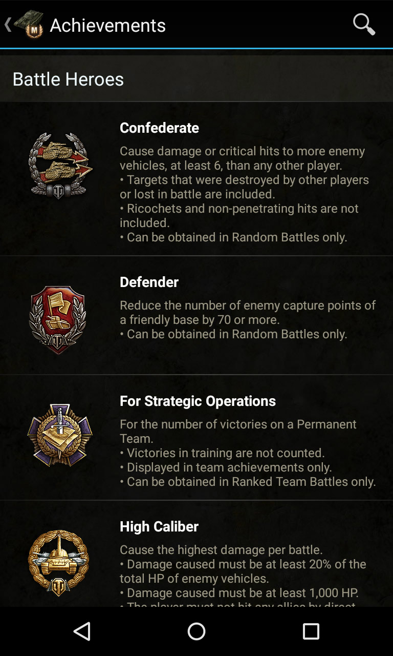 Achievements list. Knowledge base for World of Tanks