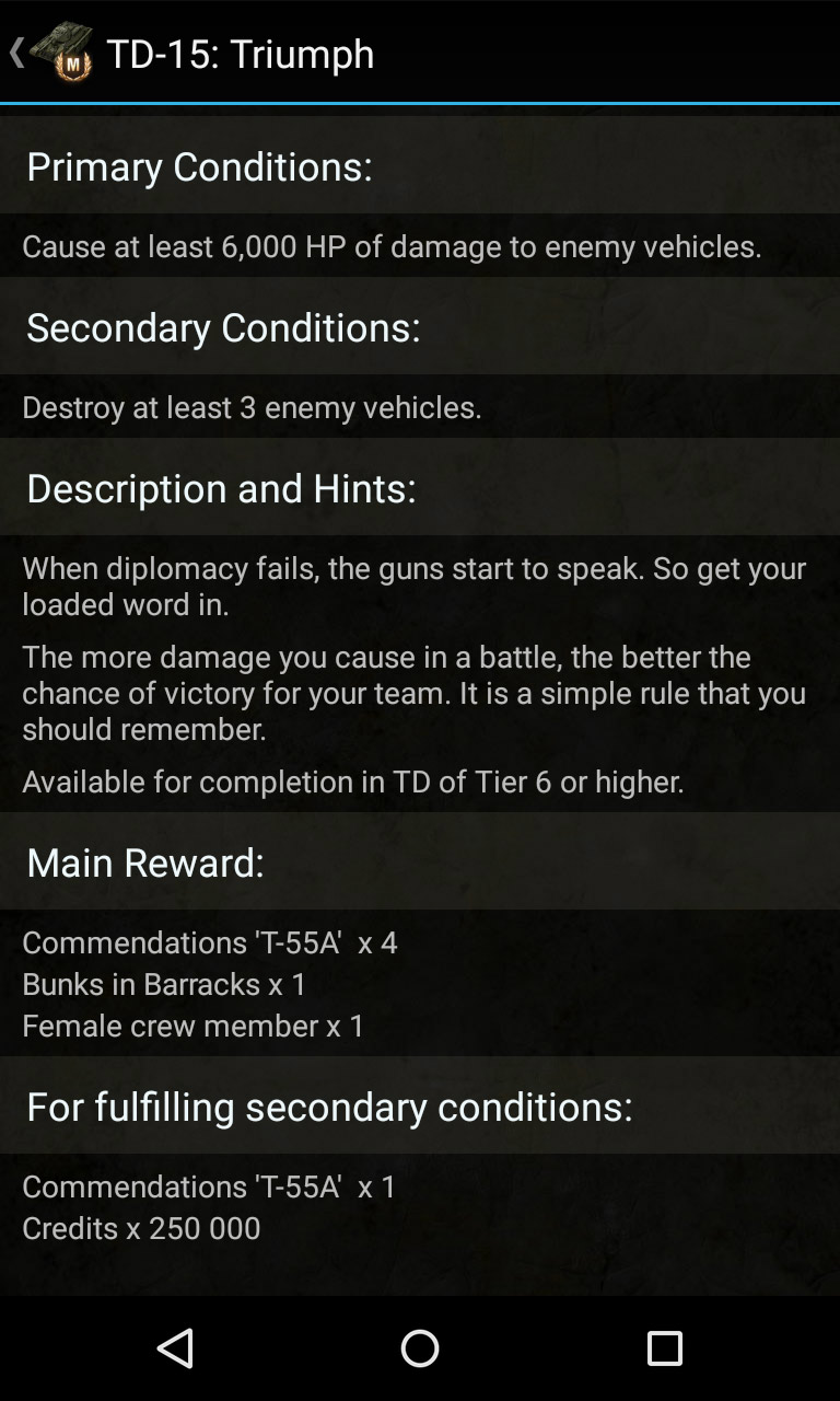 Description of one personal mission. Knowledge base for World of Tanks