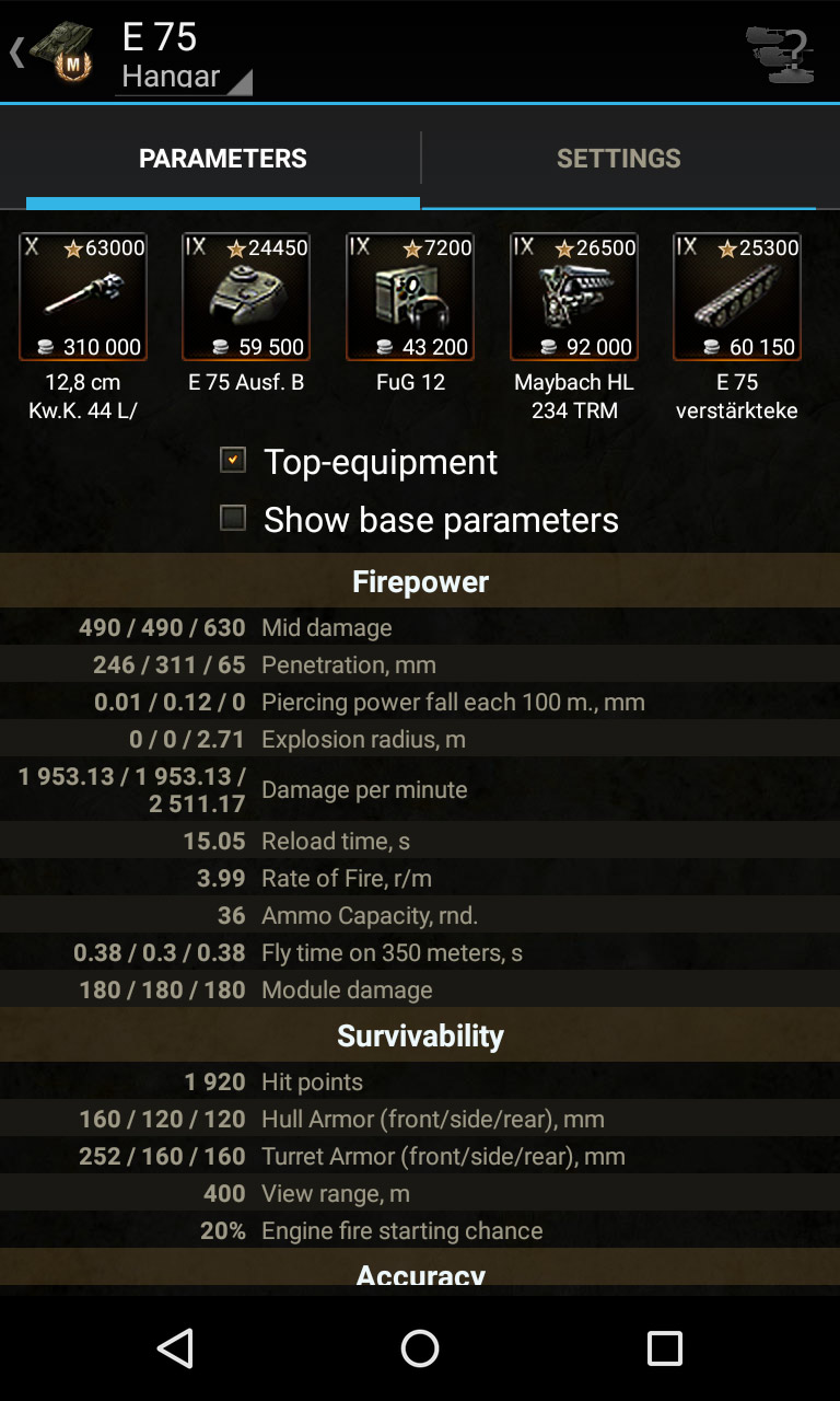 Tank parameters. Knowledge base for World of Tanks