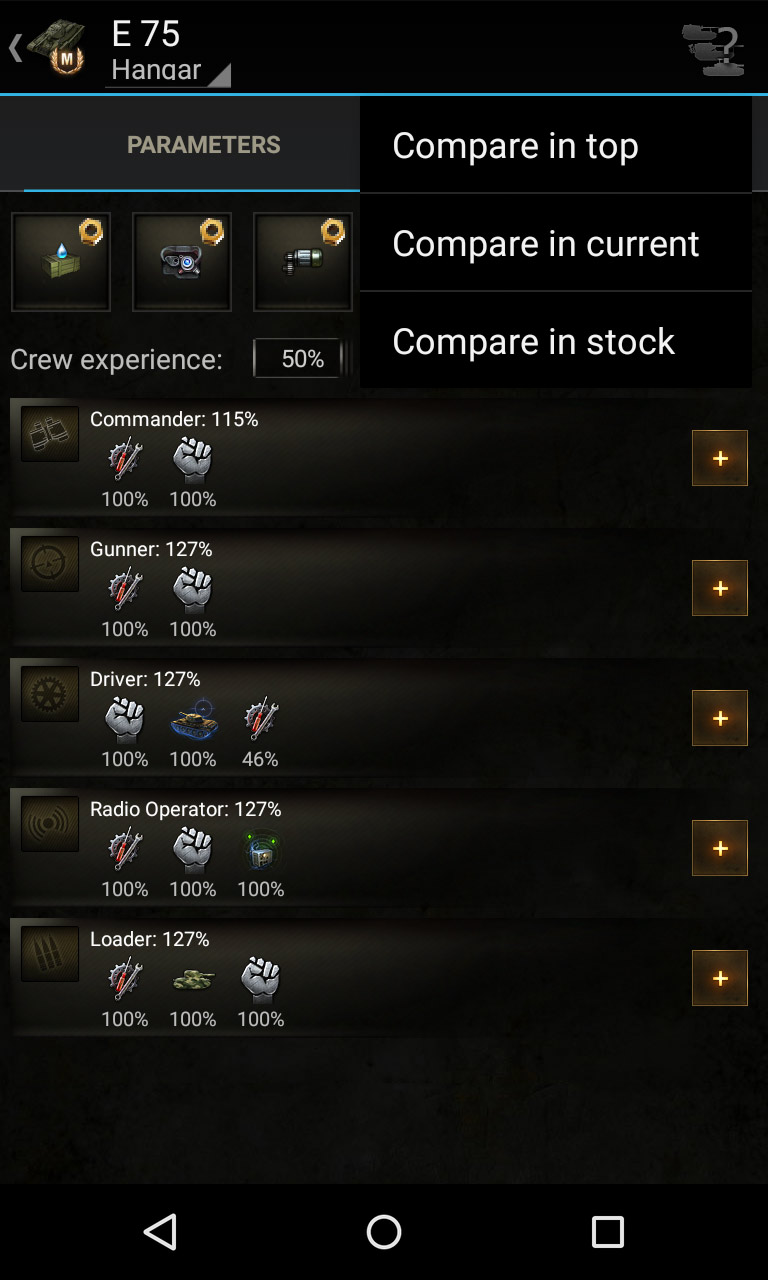Tank parameters with influence of crew, devices and consumables. Knowledge base for World of Tanks